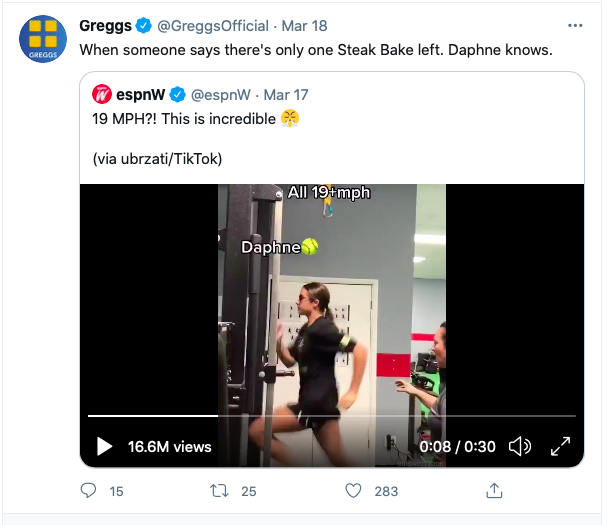 Screenshot of Greggs twitter post with a girl running on a treadmill.