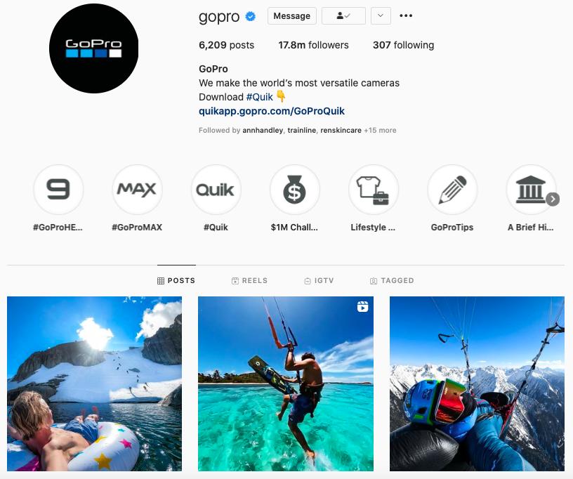 screenshot of GoPro instagram