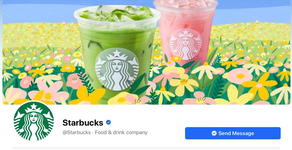 Screenshot of Starbuck's Facebook account
