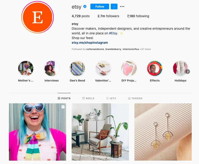 Screenshot of etsy instagram account