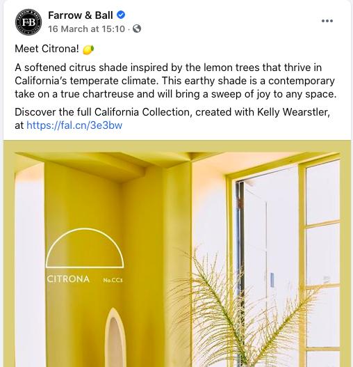 screenshot of Farrow & Ball Facebook post