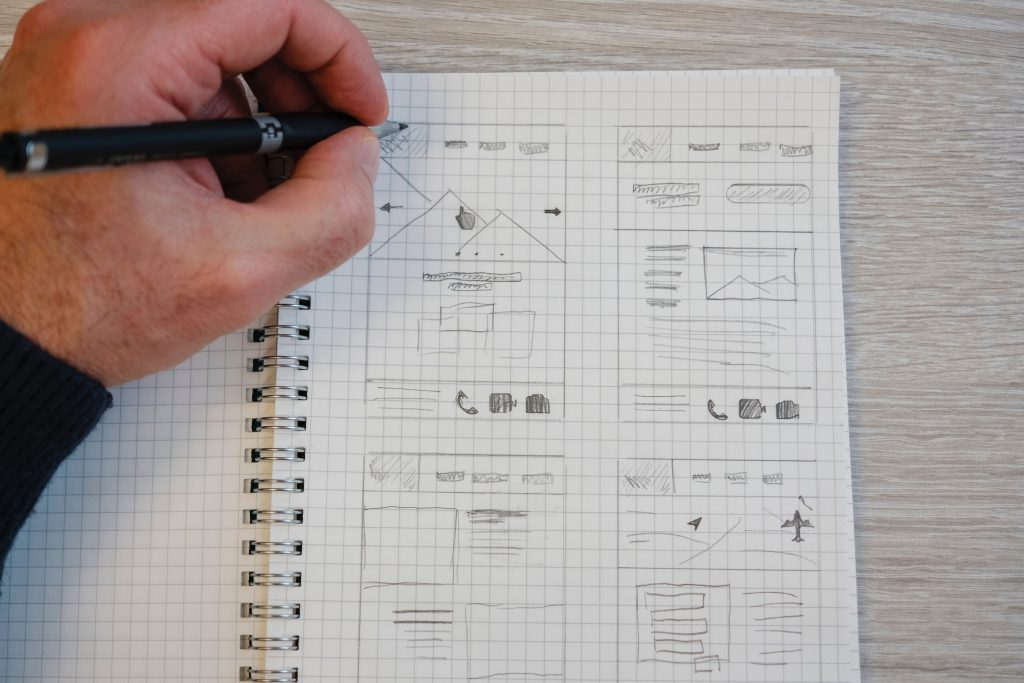 pencil drawing of a landing page plan